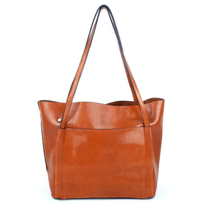 Classic PU Ladies Simple Design Tote Bag Brown