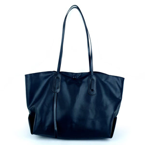 Black Minimalist Design Shoulder PU Tote Bag
