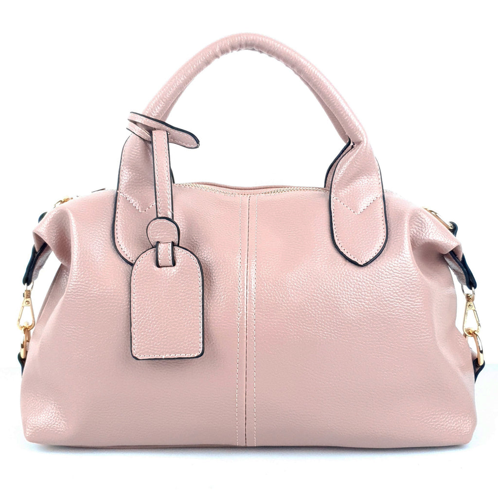 Ladies Superb Tag Crossbody PU Handbag Pink