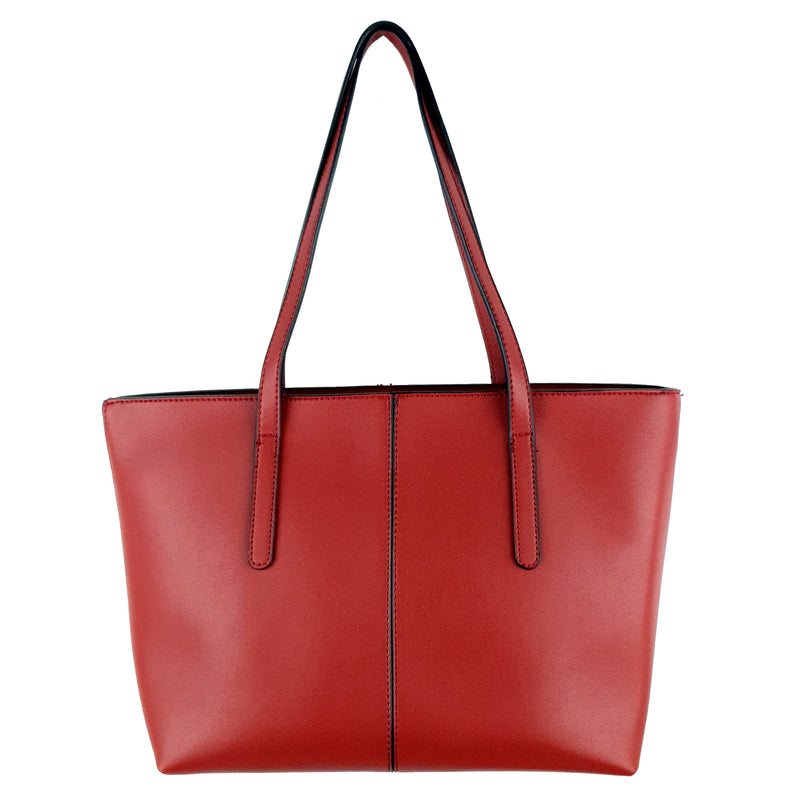 Trendy Dashing Ladies PU Tote Bag Red