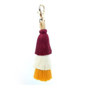 Three Tassel Keychain Red White Yellow