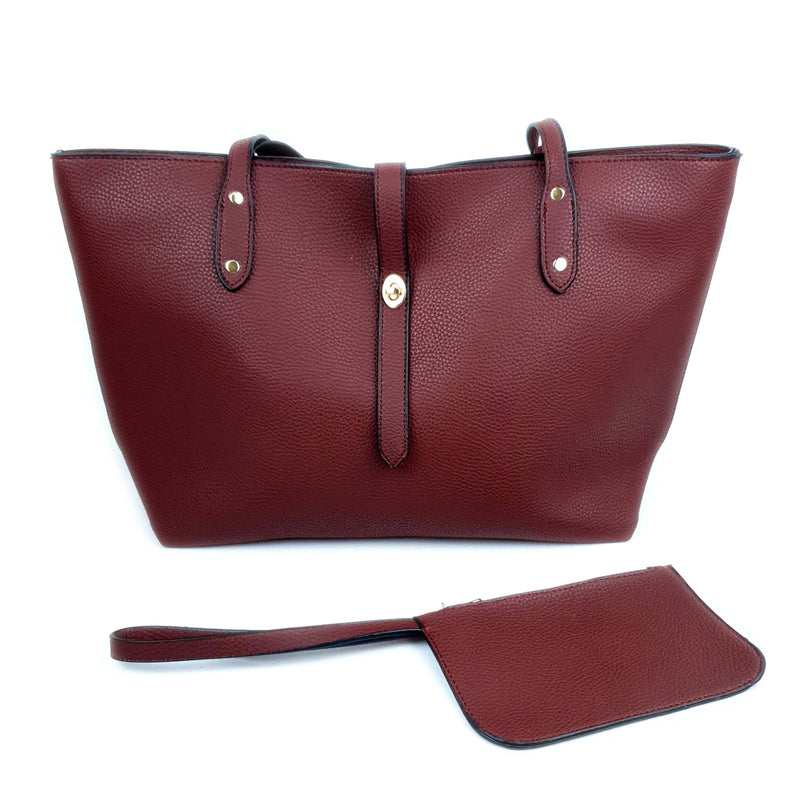 Minimalist Ladies PU Tote Bag Wine Red
