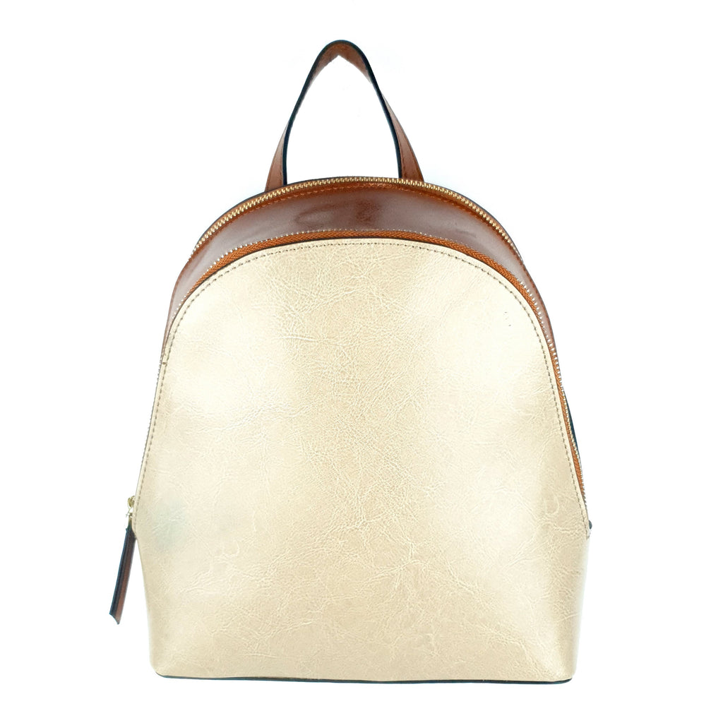 Genuine Leather Ladies Backpack Beige Brown