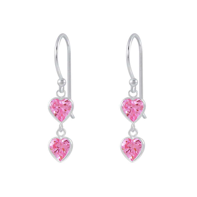 925 Silver 2 Heart Earrings Cubic Zirconia Pink