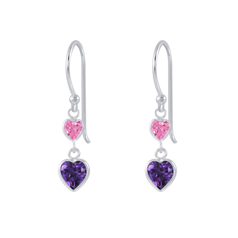925 Silver Pink Purple Cubic Zirconia 2 Hearts Earrings