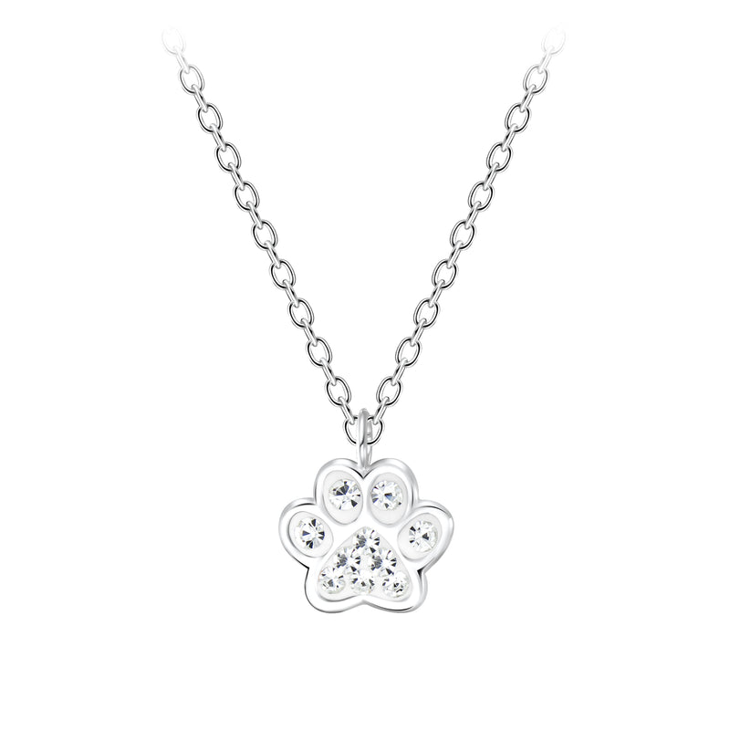 925 Silver Dog Footprints Necklace Crystal