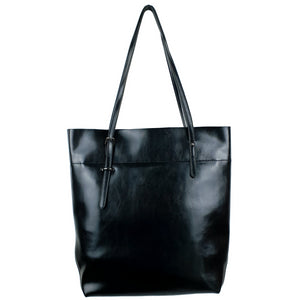 Leather Simple Tall Tote Bag Shoulder Handbag Black