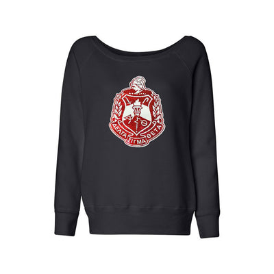 Wide Neck Sweatshirt with Sequin DST Crest - UTOPIA CREATIONS | Accessories & Gifts