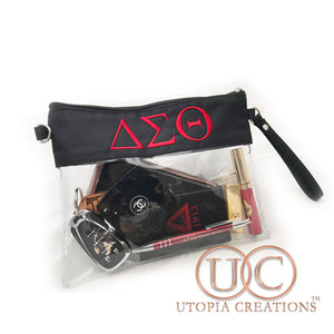 Clear ΔΣΘ Stadium Crossbody Purse - UTOPIA CREATIONS | Accessories & Gifts