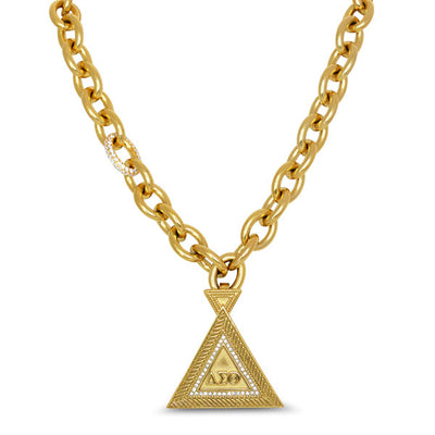 Cuban CZ Link Necklace w/Pyramid Pendant (Stainless Steel) - UTOPIA CREATIONS | Accessories & Gifts
