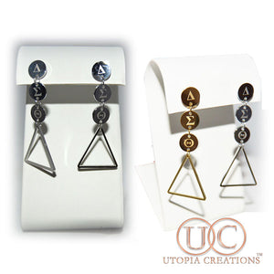 Stainless Steel ΔΣΘ Tier Drop Earrings - UTOPIA CREATIONS | Accessories & Gifts
