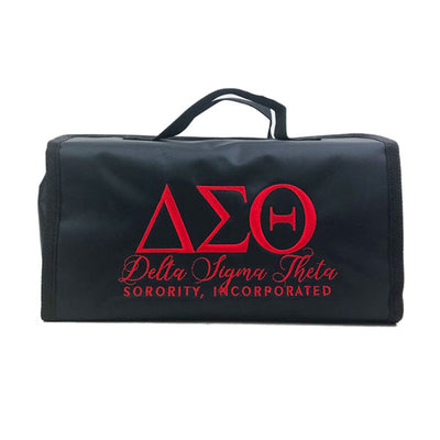 Delta Sigma Theta embroidered travel case or toiletry bag.