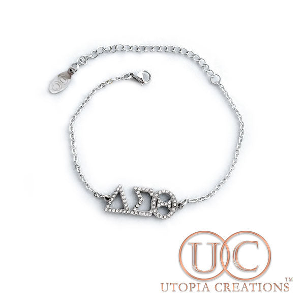 ΔΣΘ Stainless Steel Bracelet with Rhinestones
