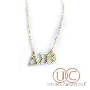 ΔΣΘ Greek Symbol Necklace w/Stones - UTOPIA CREATIONS | Accessories & Gifts