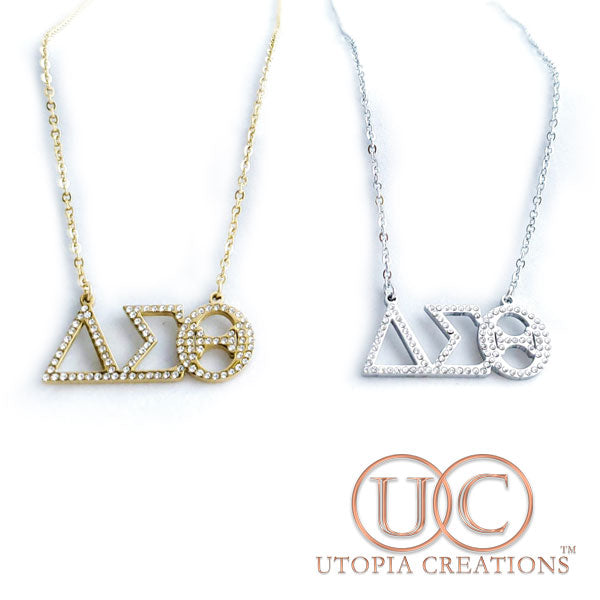 ΔΣΘ Greek Necklace w/Stones (Stainless Steel) - UTOPIA CREATIONS | Accessories & Gifts