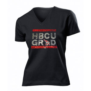"""HBCU GRAD"" Rhinestone V-Neck Tee - UTOPIA CREATIONS 