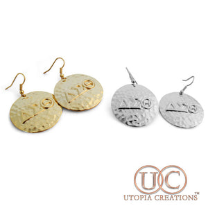ΔΣΘ Hammered Earrings - UTOPIA CREATIONS | Accessories & Gifts