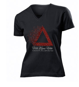 DST Pyramid Rhinestone Ladies Fitted V-Neck Tee - UTOPIA CREATIONS | Accessories & Gifts