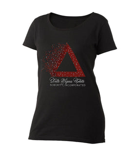Pyramid Rhinestone Ladies Scoop-Neck Tee - UTOPIA CREATIONS | Accessories & Gifts