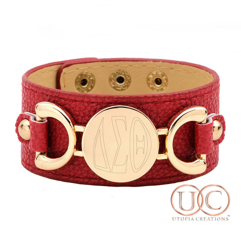 ΔΣΘ Genuine Leather Cuff Bracelet