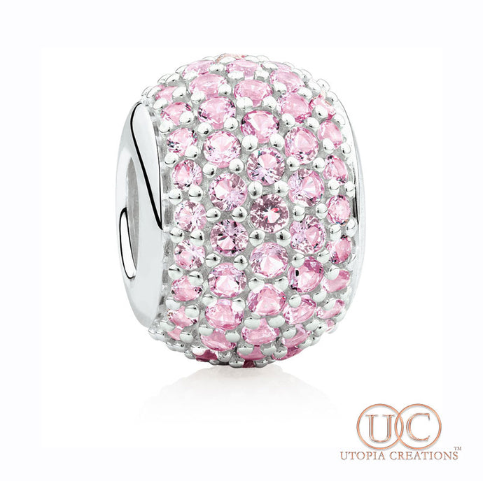 Pink Pavé Crystal Bead Charm (Stainless Steel) - UTOPIA CREATIONS | Accessories & Gifts