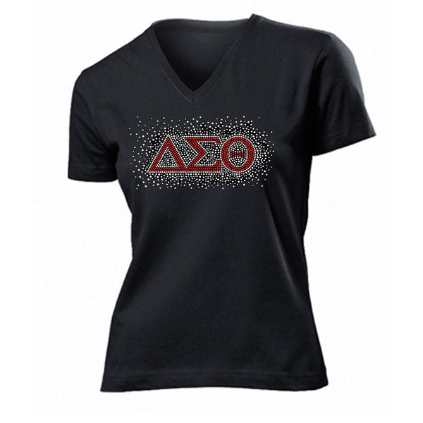 DST New Bling Rhinestone V-Neck Tee
