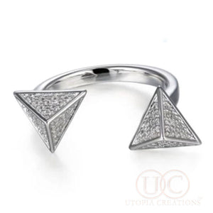 Pave' Pyramid Open Ring (Sterling Silver) - UTOPIA CREATIONS | Accessories & Gifts