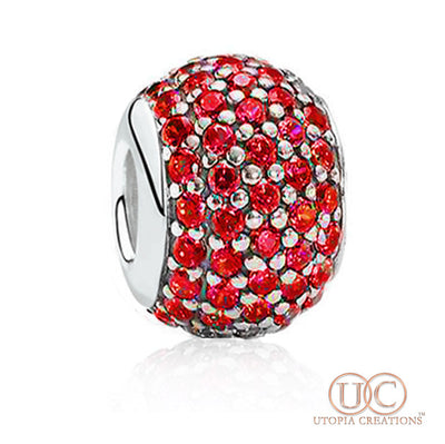 Red Pavé Crystal Charm (Stainless Steel) - UTOPIA CREATIONS | Accessories & Gifts