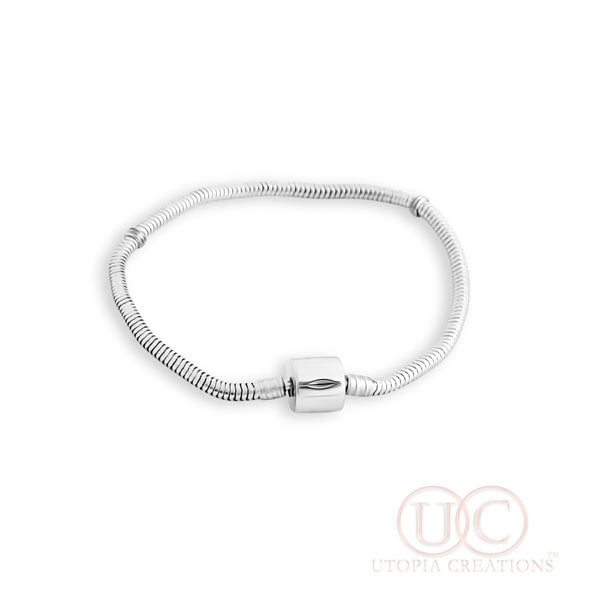 Barrel Clasp Snake Chain Bracelet (Stainless Steel) - UTOPIA CREATIONS | Accessories & Gifts
