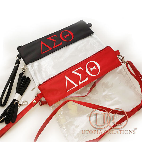 Clear ΔΣΘ Stadium Crossbody Purse
