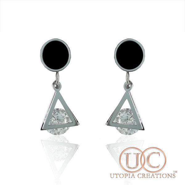 CZ Pyramid Earrings (Stainless Steel) - UTOPIA CREATIONS | Accessories & Gifts
