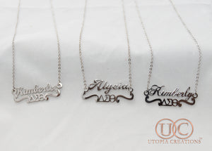 Personalized Name Necklace w/ ΔΣΘ Symbol - UTOPIA CREATIONS | Accessories & Gifts