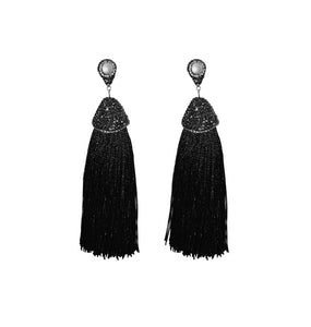 Pavé Crystal & Pearl Tassel Earrings - UTOPIA CREATIONS | Accessories & Gifts