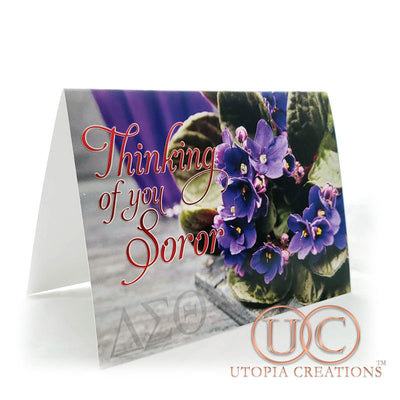 "DST ""Thinking of You Soror"" African Violets Greeting Cards - UTOPIA CREATIONS 