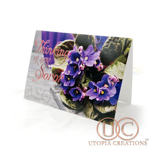 """Thinking of You Soror"" Violets Greeting Cards"