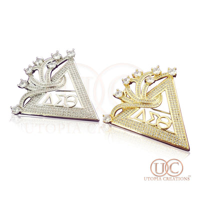 ΔΣΘ Cubic Zirconia Pyramid Brooch - UTOPIA CREATIONS | Accessories & Gifts