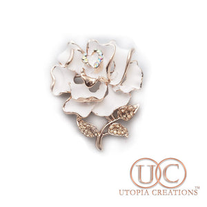 White Rose Brooch Pendant
