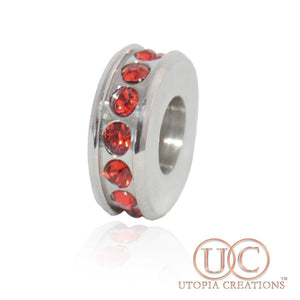 Red Crystal Reel (SS) Spacer Charm - UTOPIA CREATIONS | Accessories & Gifts