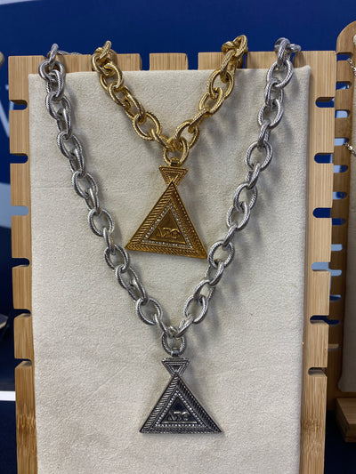 Twisted Rope Necklace w/Pyramid Pendant (Stainless Steel) - UTOPIA CREATIONS | Accessories & Gifts