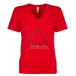DST Pyramid Rhinestone Ladies Fitted V-Neck Tee