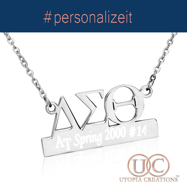 Personalized ΔΣΘ Symbol+Bar Necklace