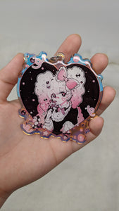 Deco Candy Heart Large Holographic Keychain