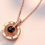 100 languages love necklace eternal design in rose-gold colour at wrap this wish unique gifts