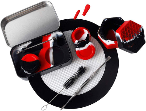 Silicone Wax Engraving Travel Set Black Red Container | Free Shipping
