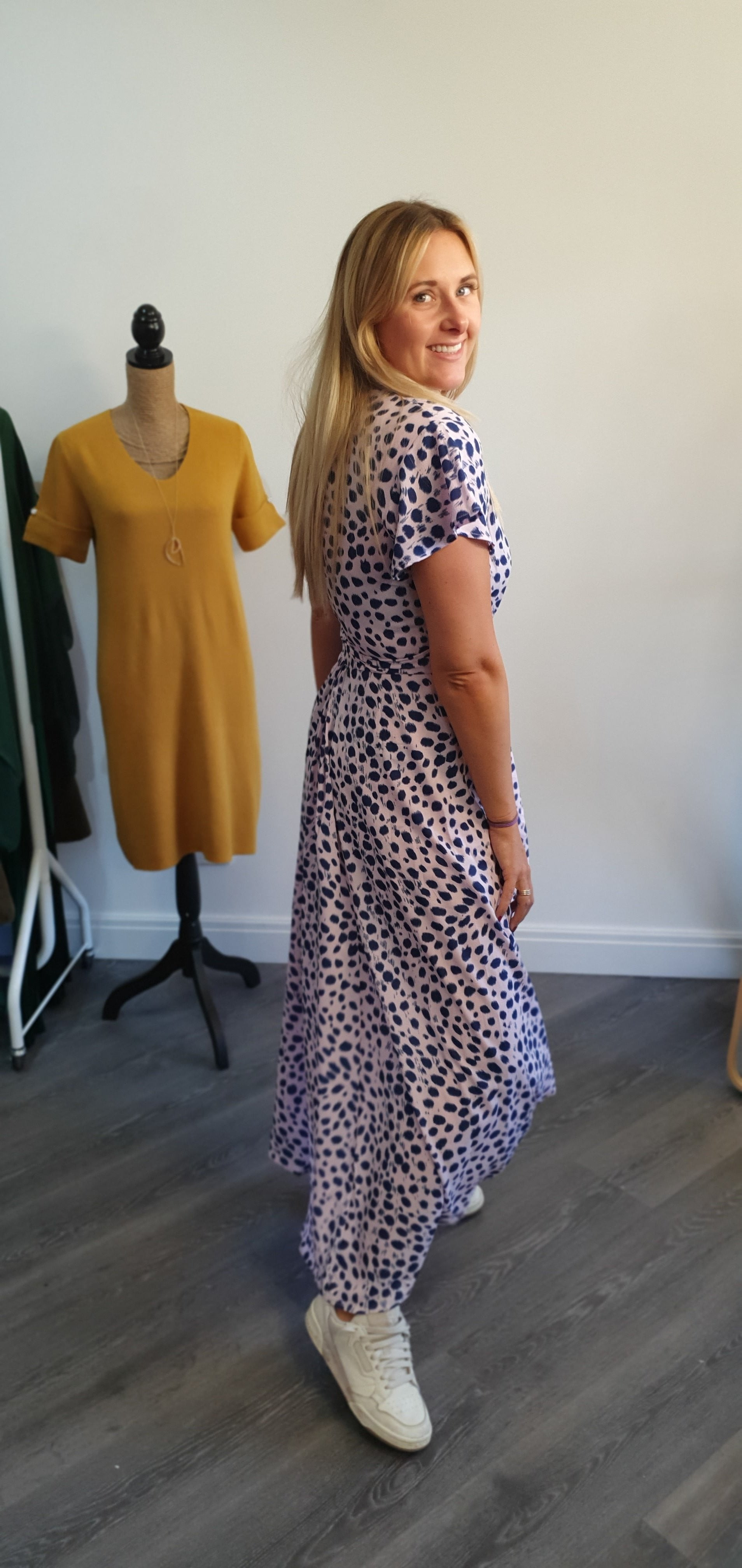 The pink and Navy smudge wrap dress