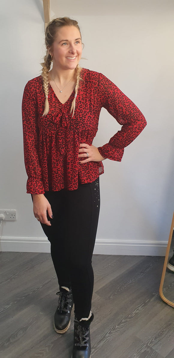 The Red Leopard blouse