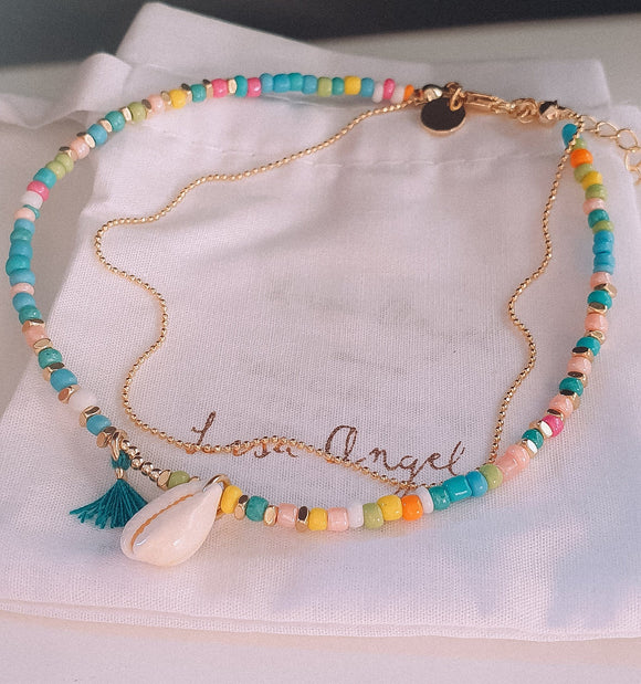 Beaded shell charm anklet