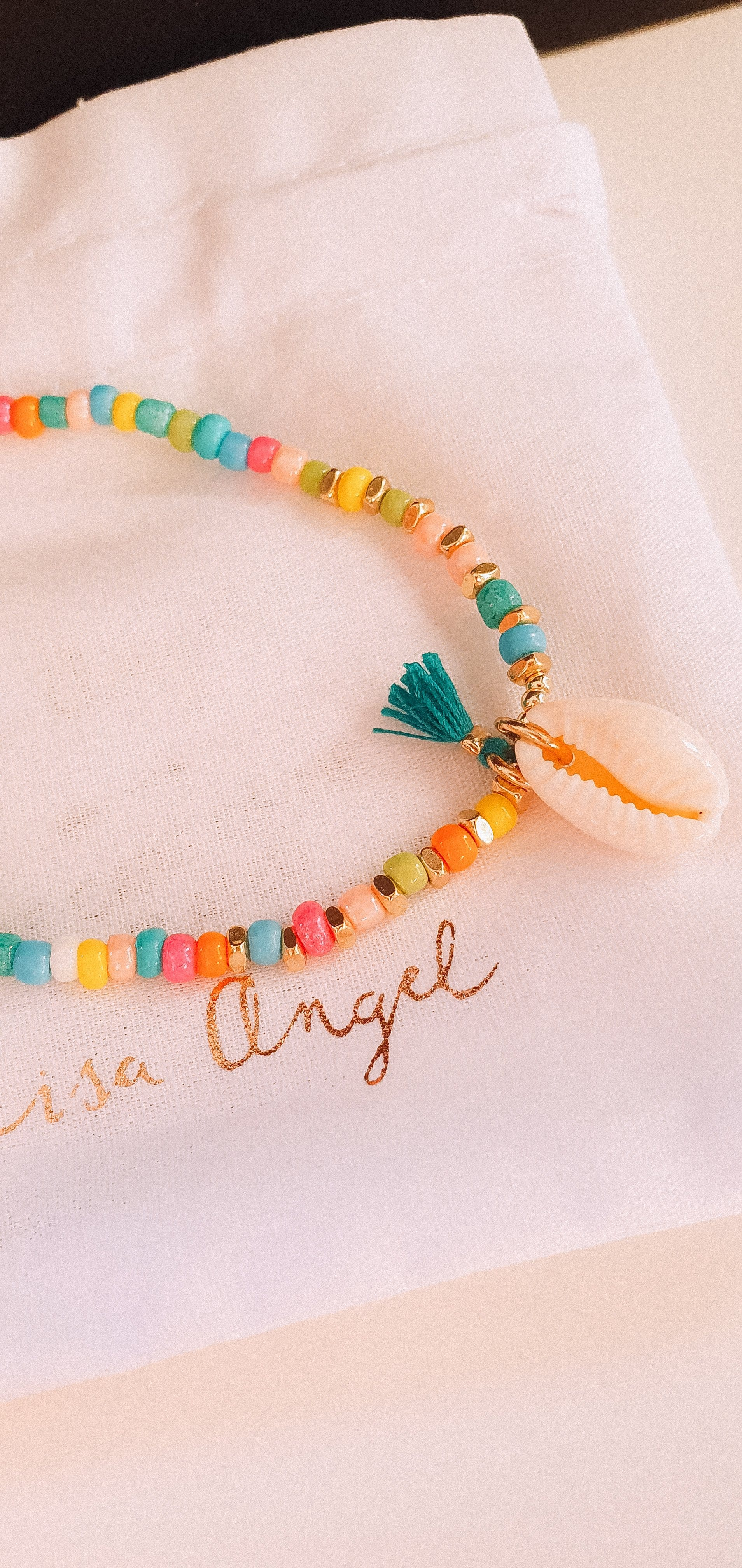 Rainbow beaded shell bracelet