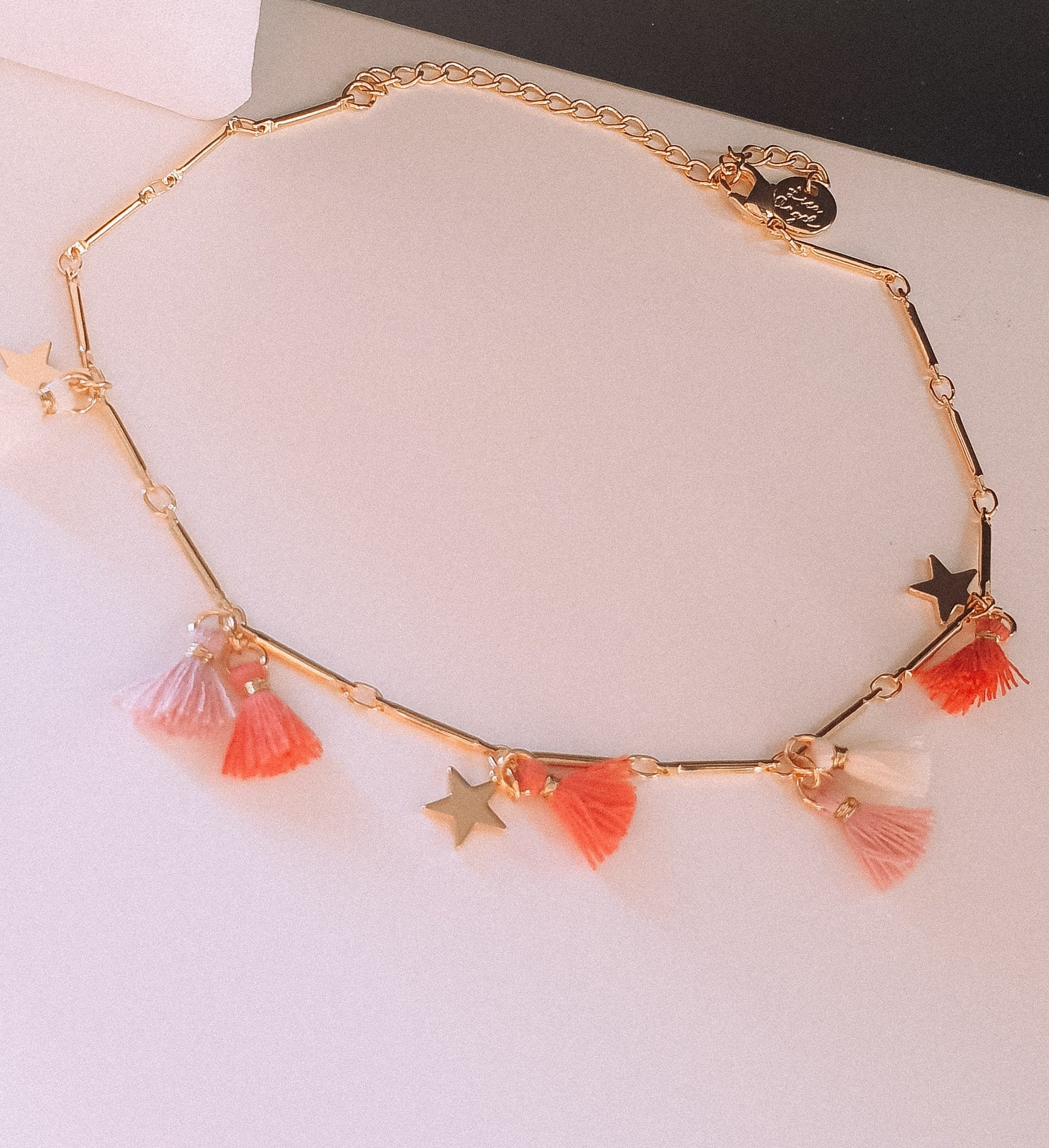 Pink star and tassel anklet