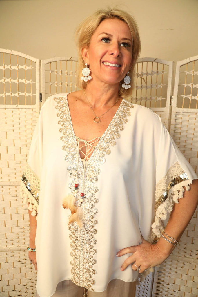 Glitz kaftan with feather detailing - ivegotnothing2wear
